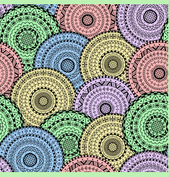 Seamless pattern of abstract ethnic mandalas vector