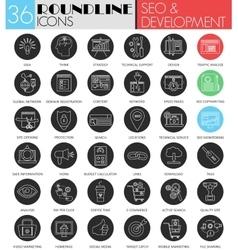 SEO and development circle white black icon vector image