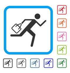 Shopping running man framed icon vector
