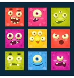 Square cartoon monster faces set vector