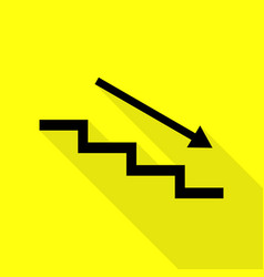 Stair down with arrow black icon with flat style vector