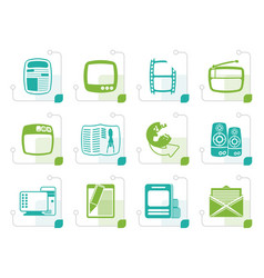 stylized media icons vector image vector image