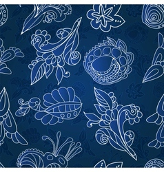 Vintage white and blue floral seamless pattern vector image vector image