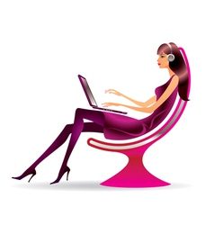 Woman in a modern chair with a laptop vector image vector image
