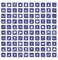 100 smuggling goods icons set grunge sapphire vector