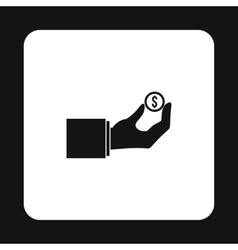 Hand pays for parking icon simple style vector image