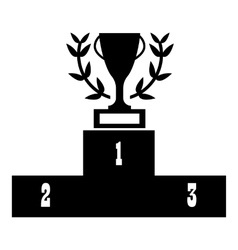 Prize podium with cup icon simple style vector