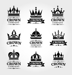 Royal crown logo templates set in black and vector