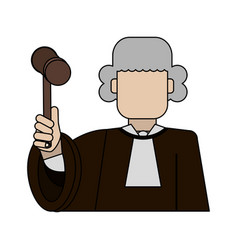 Color graphic faceless man judge with a hammer vector