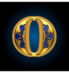 Golden letter o vector