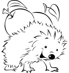Hedgehog carries on his back an apple vector