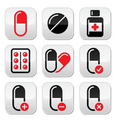 Pills medication red and black icons set vector