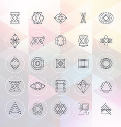 Set of abstract geometric hipster line art vector