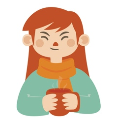 Girl Holding Hot Mug vector image