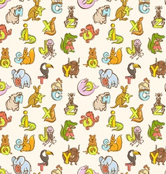 Funny zoo animals kids alphabet seamless pattern vector