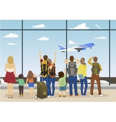 people against looking at plane taking off vector image