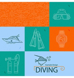Icon collection diving vector