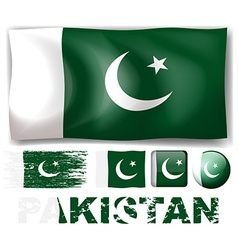 Pakistan flag in different designs vector image
