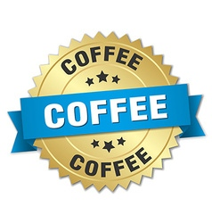 Coffee 3d gold badge with blue ribbon vector