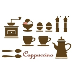 Set household kitchen vector image