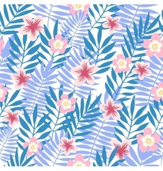 Seamless pattern tropical background with flowers vector
