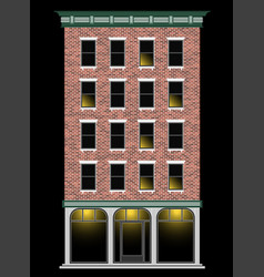 a classic american brick multi-storey house at vector image vector image