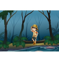 A girl in the middle of the forest near the river vector image