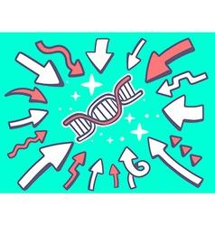 Arrows point to icon of dna molecule chai vector