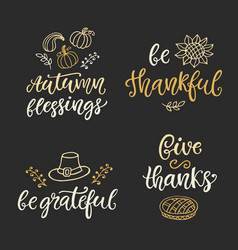 autumn and thanksgiving day hand written lettering vector image vector image