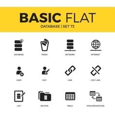 Basic set of Database icons vector image vector image
