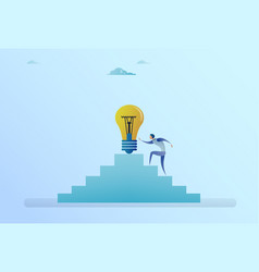 business man climbing stairs up to light bulb new vector image