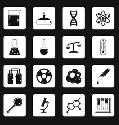 Chemical laboratory icons set squares vector