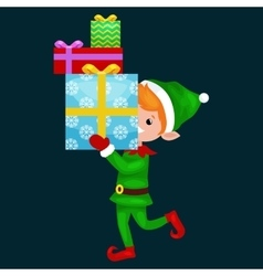 Christmas elf isolated stack of gifts in box in a vector