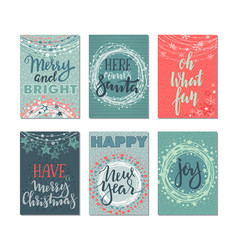 Collection of six christmas cards vector