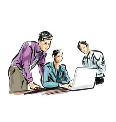 color line sketch of people working in the office vector image