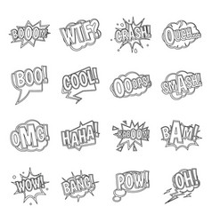 comic colored sound icons set outline style vector image