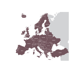 Europe detailed map with name vector