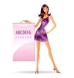 Fashion model with advertising message vector image vector image