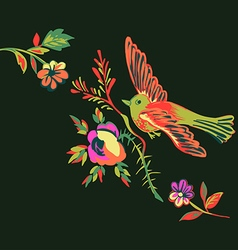 Flying bird with branch of a rose isolated black vector