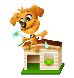 Funny yellow puppy sitting on doghouse and tearing vector