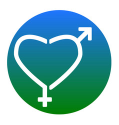 Gender signs in heart shape white icon in vector