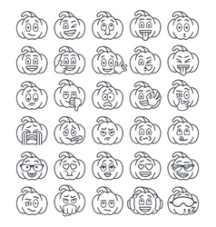 Halloween pumpkin thin line emoji emoticons vector image