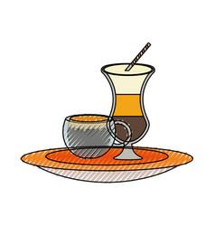 Ice coffee malt and coffee cup vector