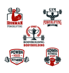 Icons bodybuilding gym or powerlifting club vector