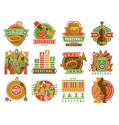 jazz music festival label with saxophone wind vector image vector image