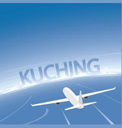 Kuching skyline flight destination vector