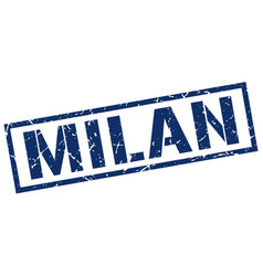 Milan blue square stamp vector