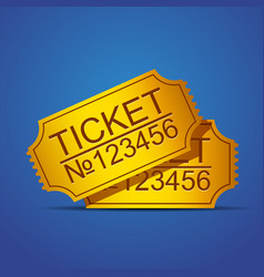 pair of yellow cinema tickets on blue vector image vector image
