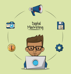 Poster of digital marketing with designer man in vector