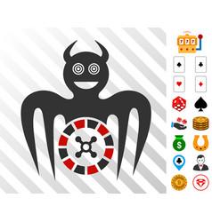 Roulette mad spectre devil icon with bonus vector